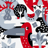 Modern vector pattern with birds and plants. Seamless vector pattern. The stylized images of birds and plants. Toucan, palm. Modern design for textiles, paper Royalty Free Stock Photography