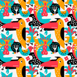 Modern vector pattern with birds and plants. Seamless vector pattern. The stylized images of birds and plants. Toucan, palm. Modern design for textiles, paper Stock Photo
