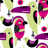 Modern vector pattern with birds and plants. Seamless vector pattern. The stylized images of birds and plants. Toucan, parrot, snail. Modern design for textiles Royalty Free Stock Photos