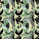 Modern vector pattern with birds and plants. Royalty Free Stock Photo