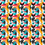 Modern vector pattern with birds and plants. Seamless vector pattern. The stylized images of birds and plants. Toucan, parrot, snail. Modern design for textiles Royalty Free Stock Images