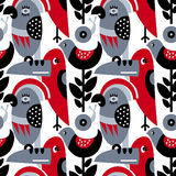Modern vector pattern with birds and plants. Seamless vector pattern. The stylized images of birds and plants. Toucan, parrot, snail. Modern design for textiles Stock Photo