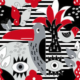 Modern vector pattern with birds and plants. Royalty Free Stock Photos