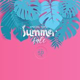 Modern vector poster summer sale for special offer. Pink and blue Paper cut style Illustration for poster, advertising, marketing vector illustration
