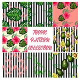 Modern vector seamless pattern with trendy tropical leaves and avocado
