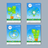 Modern vector set of brochures in the green infographics style for your design Stock Photo