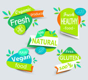 Modern vector set of healthy organic food labels. Stock Photography