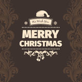 Modern vector style brown pale yellow color scheme merry christmas greetings card. On dark brown background with brown swirls on the sides. Flat design element Royalty Free Illustration