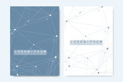 Modern vector template for brochure, cover, banner, flyer, annual report, leaflet. Abstract art composition with. Connecting lines and dots. Digital technology vector illustration