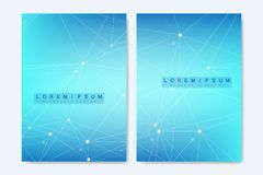Modern vector template for brochure, cover, banner, flyer, annual report, leaflet. Abstract art composition with. Connecting lines and dots. Digital technology stock illustration