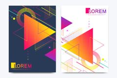 Modern vector template for brochure, Leaflet, flyer, advert, cover, banner, catalog, magazine or annual report. Abstract. Triangle background texture design stock illustration