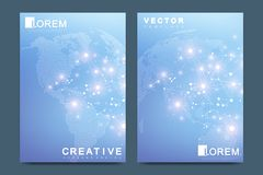 Modern vector template for brochure Leaflet, flyer advert cover catalog magazine or annual report. Business, science Stock Photos