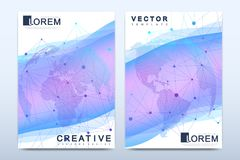 Modern vector template for brochure Leaflet, flyer advert cover catalog magazine or annual report. Business, science Royalty Free Stock Photo
