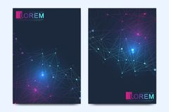 Modern vector template for brochure, Leaflet, flyer, advert, cover, catalog, magazine or annual report. Geometric. Pattern with connected lines and dots Stock Photography