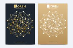 Modern vector template for brochure Leaflet flyer advert cover catalog magazine or annual report. Geometric pattern with. Connected lines and dots. Cybernetic royalty free illustration