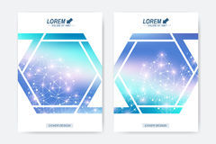 Modern vector template for brochure Leaflet flyer advert cover magazine or annual report. Geometric background molecule. And communication. DNA Molecule royalty free illustration