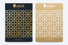 Modern vector template for brochure, Leaflet, flyer, advert, cover, magazine or annual report. A4 size. Islamic design. Book layout. Abstract golden royalty free illustration