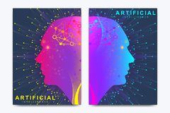 Modern vector template for brochure, leaflet, flyer, cover, banner, catalog, magazine, or annual report. Artificial. Intelligence and Machine Learning Concept vector illustration