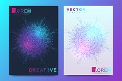 Modern vector template for brochure, leaflet, flyer, cover, banner, catalog, magazine, or annual report in A4 size. Futuristic science and technology design stock illustration