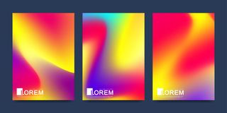 Modern vector template for brochure leaflet flyer cover banner catalog in A4 size. Abstract fluid 3d shapes vector. Trendy liquid colors backgrounds set stock illustration