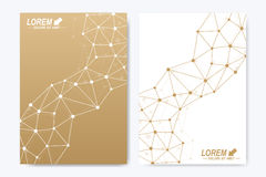 Modern vector template for brochure, Leaflet, flyer, cover, booklet, magazine or annual report. Golden presentation book Royalty Free Stock Photo