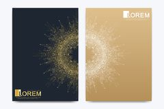 Modern vector template for brochure leaflet flyer cover catalog magazine or annual report. Golden layout in A4 size. Business, science and technology design stock illustration