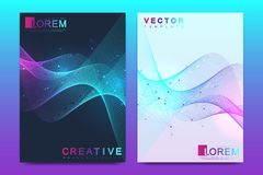 Modern vector template for brochure, leaflet, flyer, cover, catalog, magazine, banner or annual report. A4 size. Business, science and technology design with royalty free illustration