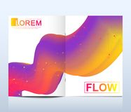 Modern vector template for brochure, leaflet, flyer, cover, catalog in A4 size. Abstract fluid 3d shapes vector trendy Stock Photo