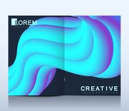 Modern vector template for brochure, leaflet, flyer, cover, catalog in A4 size. Abstract fluid 3d shapes vector trendy Royalty Free Stock Photography