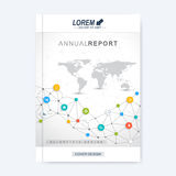 Modern vector template for brochure, leaflet, flyer, cover, magazine or annual report.. Molecular layout A4 size. Business, science, technology design book Stock Images