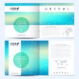 Modern vector template for square brochure, leaflet, flyer, cover, catalog, magazine, annual report. Business, science. And technology design book layout stock illustration