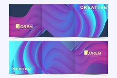 Modern vector template for trifold square brochure, flyer, cover, report, catalog, magazine. Abstract fluid 3d shapes. Vector trendy liquid colors backgrounds vector illustration