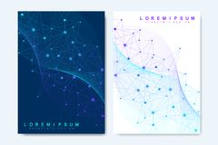 Modern vector templates for brochure, cover, banner, flyer, annual report, leaflet. Abstract art composition with. Connecting lines and dots. Wave flow. Digital Royalty Free Stock Photo