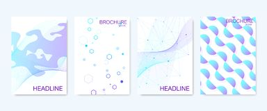Modern vector templates for brochure, cover, banner, flyer, annual report, leaflet. Abstract art composition with. Hexagons, connecting lines and dots. Wave stock illustration