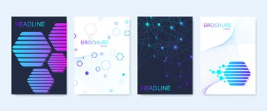 Modern vector templates for brochure, cover, banner, flyer, annual report, leaflet. Abstract art composition with. Hexagons, connecting lines and dots. Wave Royalty Free Stock Photography