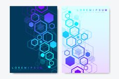 Modern vector templates for brochure, cover, banner, flyer, annual report, leaflet. Abstract art composition with. Hexagons, connecting lines and dots. Wave vector illustration