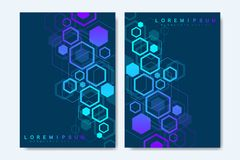 Modern vector templates for brochure, cover, banner, flyer, annual report, leaflet. Abstract art composition with. Hexagons, connecting lines and dots. Digital stock illustration