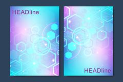 Modern vector templates for brochure, cover, banner, flyer, annual report, leaflet. Abstract art composition with. Hexagons, connecting lines and dots. Digital royalty free illustration