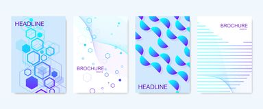 Modern vector templates for brochure, cover, banner, flyer, annual report, leaflet. Abstract art composition with. Hexagons, connecting lines and dots. Wave Royalty Free Stock Photo