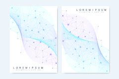 Modern vector templates for brochure, cover, banner, flyer, annual report, leaflet. Abstract art composition with. Connecting lines and dots. Wave flow. Digital royalty free illustration