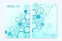 Modern vector templates for brochure, cover, banner, flyer, annual report, leaflet. Abstract art composition with. Hexagons, connecting lines and dots. Digital vector illustration
