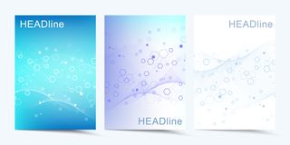Modern vector templates for brochure, cover, banner, flyer, annual report, leaflet. Abstract art composition with. Connecting lines and dots. Wave flow. Digital stock illustration