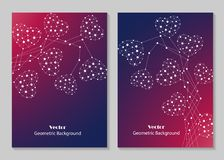 Modern brochure cover design. Modern vector templates for brochure cover in A4 size. Abstract hearts made of connected lines and dots on colored background Stock Photos