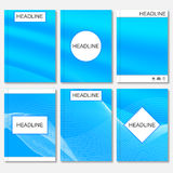 Modern vector templates for brochure, flyer, cover magazine or report in A4 size.Abstract curved lines on blue. Background Royalty Free Stock Image