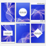 Modern vector templates for brochure, flyer, cover magazine or report in A4 size.Abstract curved lines on blue. Background Royalty Free Stock Photo