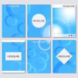 Modern vector templates for brochure, flyer, cover magazine or report in A4 size.Abstract curved lines on blue. Background Royalty Free Stock Photography