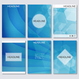 Modern vector templates for brochure, flyer, cover magazine or report in A4 size.Abstract curved lines on blue. Background Stock Photos