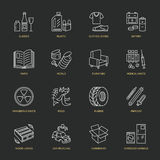 Modern vector thin line icons of waste sorting, recycling. Garbage collection. Recyclable trash - paper, glass, plastic, metal, wo Royalty Free Stock Photo