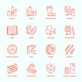Modern vector thin line icons of waste sorting, recycling. Garbage collection. Recyclable trash - paper, glass, plastic, metal, wo Stock Photos
