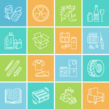 Modern vector thin line icons of waste sorting, recycling. Garbage collection. Recyclable trash - paper, glass, plastic Stock Images
